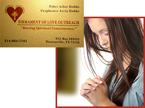 Firmament Of Love Outreach Ministry Card and Woman Praying